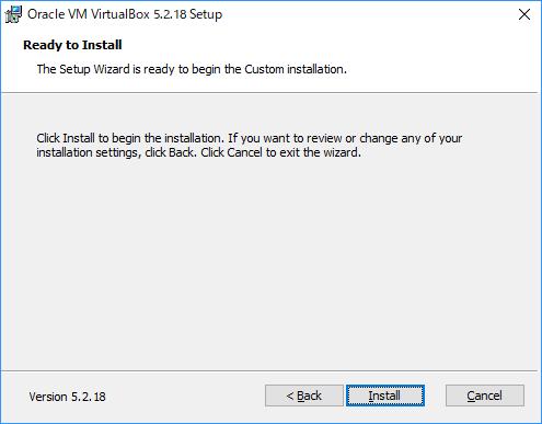 インストールの最終確認。Installをクリックしインストールを開始します