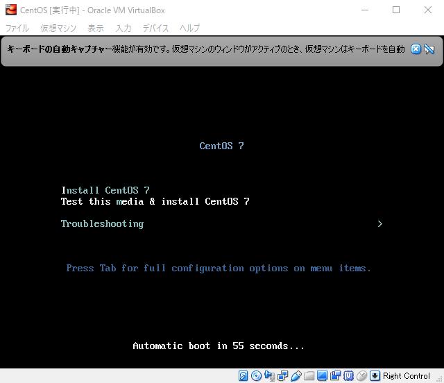 この画面が表示されたら「Test this media & install CentOS 7」を選択して起動が出来ます