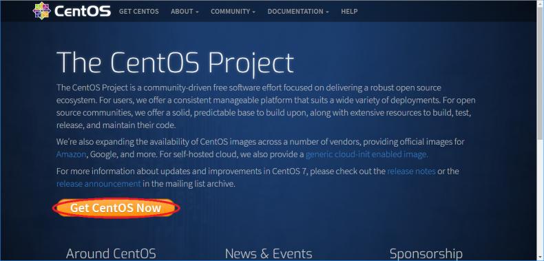 Get CentOS Nowをクリックします
