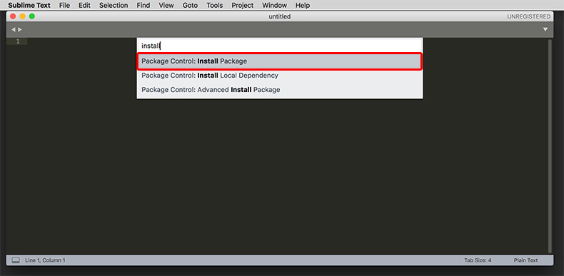 Command Palette(コマンドパレット)installと入力