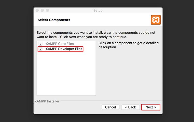 XAMPP Develeoper Files」にチェックが入っているのを確認してNextをクリックします