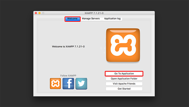 Welecomeタブに切り替えて、Go To Applicationボタンをクリックしましょう。